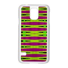Bright Green Pink Geometric Samsung Galaxy S5 Case (white)