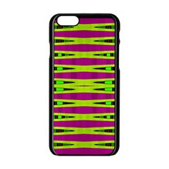 Bright Green Pink Geometric Apple Iphone 6/6s Black Enamel Case