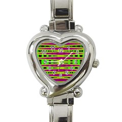 Bright Green Pink Geometric Heart Italian Charm Watch by BrightVibesDesign