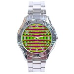 Bright Green Pink Geometric Stainless Steel Analogue Watch Front