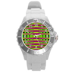 Bright Green Pink Geometric Round Plastic Sport Watch (l) by BrightVibesDesign