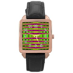 Bright Green Pink Geometric Rose Gold Leather Watch