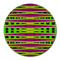 Bright Green Pink Geometric Round Mousepads