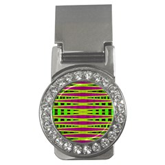 Bright Green Pink Geometric Money Clips (CZ)  by BrightVibesDesign