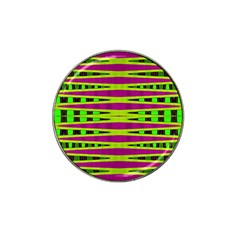Bright Green Pink Geometric Hat Clip Ball Marker (4 Pack)