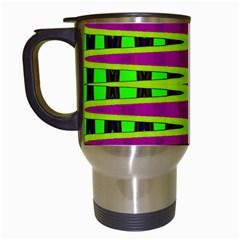 Bright Green Pink Geometric Travel Mugs (white) by BrightVibesDesign