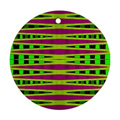 Bright Green Pink Geometric Round Ornament (two Sides)