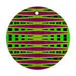 Bright Green Pink Geometric Round Ornament (Two Sides)  Back