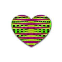 Bright Green Pink Geometric Heart Coaster (4 Pack)  by BrightVibesDesign
