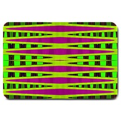 Bright Green Pink Geometric Large Doormat  by BrightVibesDesign