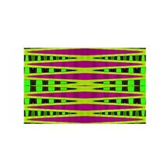 Bright Green Pink Geometric Satin Wrap