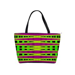 Bright Green Pink Geometric Shoulder Handbags