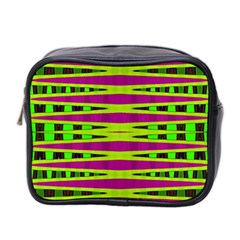 Bright Green Pink Geometric Mini Toiletries Bag 2-Side by BrightVibesDesign
