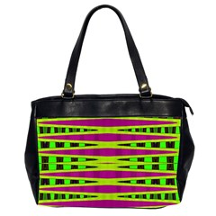 Bright Green Pink Geometric Office Handbags (2 Sides)