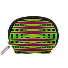 Bright Green Pink Geometric Accessory Pouches (small)