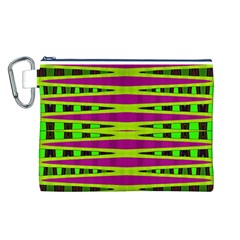 Bright Green Pink Geometric Canvas Cosmetic Bag (L) by BrightVibesDesign