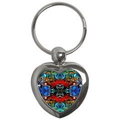 Colorful  Underwater Plants Pattern Key Chains (heart)  by Costasonlineshop