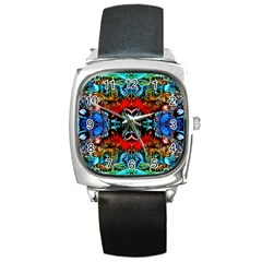 Colorful  Underwater Plants Pattern Square Metal Watch