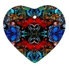Colorful  Underwater Plants Pattern Heart Ornament (2 Sides)