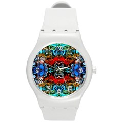 Colorful  Underwater Plants Pattern Round Plastic Sport Watch (m)