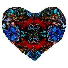 Colorful  Underwater Plants Pattern Large 19  Premium Heart Shape Cushions by Costasonlineshop