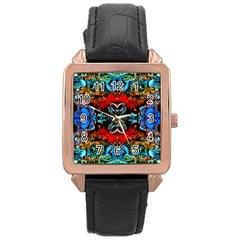 Colorful  Underwater Plants Pattern Rose Gold Leather Watch  by Costasonlineshop