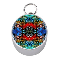 Colorful  Underwater Plants Pattern Mini Silver Compasses by Costasonlineshop