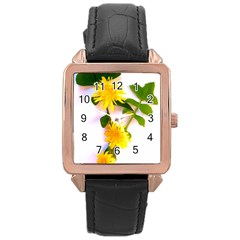 Margaritas Bighop Design Rose Gold Leather Watch