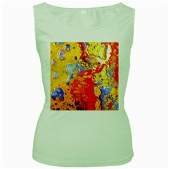 Gold And Red Women s Green Tank Top by 20JA