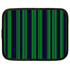 Dark Blue Green Striped Pattern Netbook Case (Large) by BrightVibesDesign