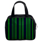 Dark Blue Green Striped Pattern Classic Handbags (2 Sides)