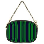 Dark Blue Green Striped Pattern Chain Purses (One Side)