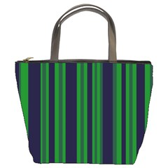 Dark Blue Green Striped Pattern Bucket Bags by BrightVibesDesign