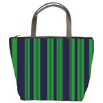 Dark Blue Green Striped Pattern Bucket Bags
