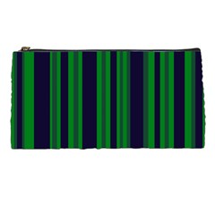 Dark Blue Green Striped Pattern Pencil Cases by BrightVibesDesign