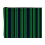 Dark Blue Green Striped Pattern Cosmetic Bag (XL)