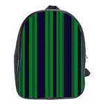 Dark Blue Green Striped Pattern School Bags(Large)
