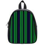 Dark Blue Green Striped Pattern School Bags (Small)