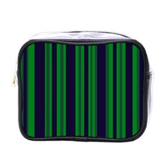 Dark Blue Green Striped Pattern Mini Toiletries Bags by BrightVibesDesign