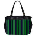 Dark Blue Green Striped Pattern Office Handbags (2 Sides)
