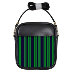 Dark Blue Green Striped Pattern Girls Sling Bags by BrightVibesDesign