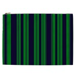 Dark Blue Green Striped Pattern Cosmetic Bag (XXL)