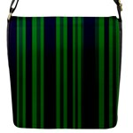 Dark Blue Green Striped Pattern Flap Messenger Bag (S)