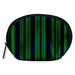 Dark Blue Green Striped Pattern Accessory Pouches (Medium)