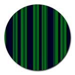 Dark Blue Green Striped Pattern Round Mousepads