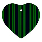 Dark Blue Green Striped Pattern Ornament (Heart)