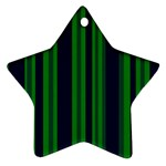 Dark Blue Green Striped Pattern Ornament (Star)