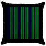 Dark Blue Green Striped Pattern Throw Pillow Case (Black)