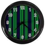 Dark Blue Green Striped Pattern Wall Clocks (Black)