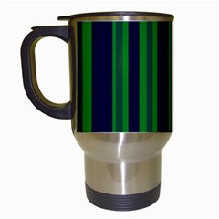 Dark Blue Green Striped Pattern Travel Mugs (White) by BrightVibesDesign
